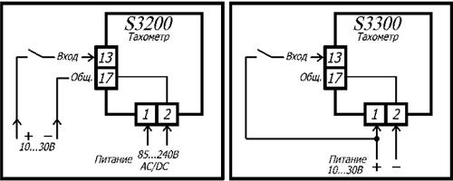 Схемы подключения тахометров S3200 и S3300